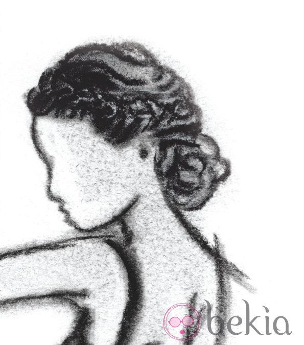 Boceto de un trenzado de inspiración helénica, uno de los peinados de los Goya 2013