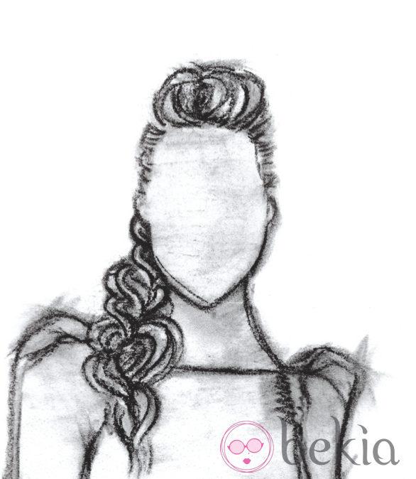 Boceto de una trenza deshecha, uno de los peinados de los Goya 2013