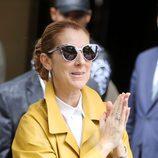 Céline Dion con unas gafas de sol en pico y un recogido alto
