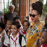 Beyoncé con un recogido hecho con trenzas
